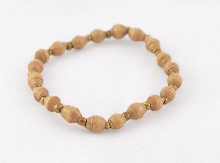 Paper Bead Bracelet - Brown & Gold