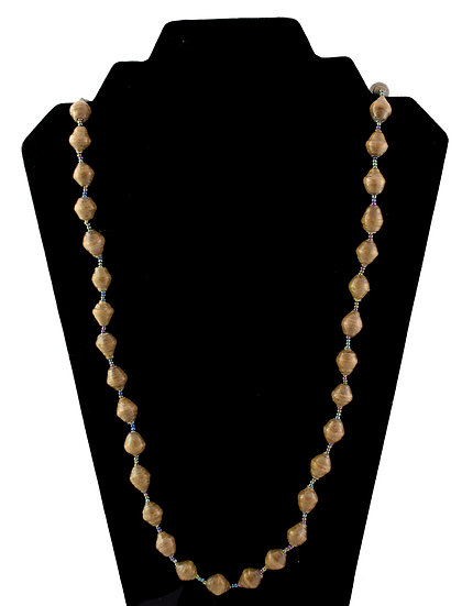 Medium Length Paper Bead Necklace - Brown