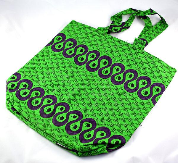 Lined Tote Bag - Green, Purple & Black