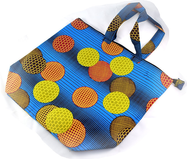 Lined Tote Bag - Blue, Black & Yellow