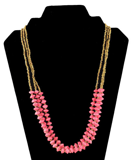 Multi-strand Paper Bead Necklace - Pink
