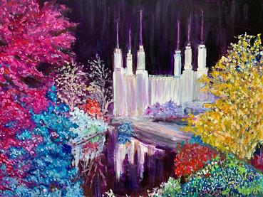 Mormon Temple lights