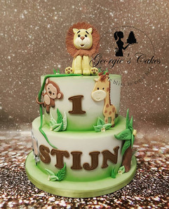 1e verjaardag dieren taart jungle.jpg