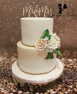 Rustiek Bruidstaart met suiker bloemen -