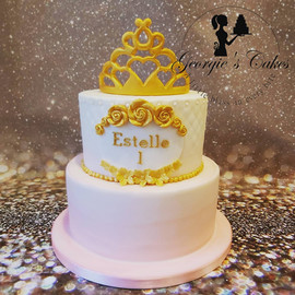 1st birthday cake pink white & gold - Ge