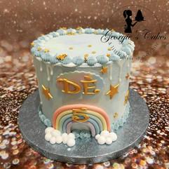 Blauw regenboog mini dripcake - Georgie'