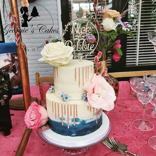 Roze gold navy blue weddingcake Georgie'