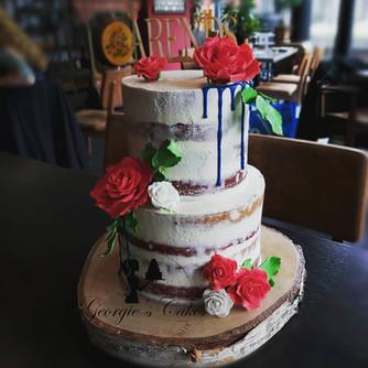 Naked weddingcake sugar flowers - Georgi