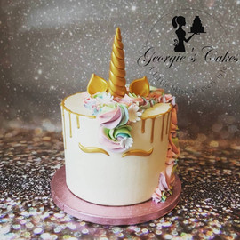 1 laags unicorn taart - Georgie's Cakes.