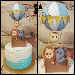 blue ombre dierenballon taart - Georgie'