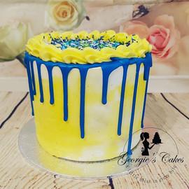 Blauw geel mini dripcake - Georgie's Cak