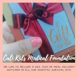 Giftcards for parents with a child in the hsopital