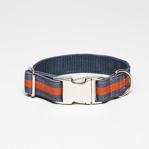striped dog collar, grau orange gestreiftes Hundehalsband, top dog cool cat