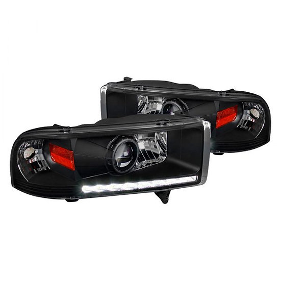 Black Projector/DRL Strip Style Headlights