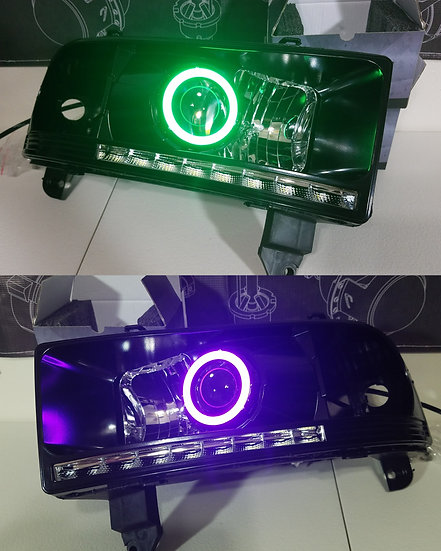 STYLE 1: Color Changing/Switchback Projector Headlights - 1994-2002 Ram