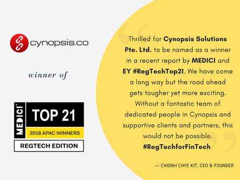 Cynopsis awarded MEDICI Top 21—RegTech Companies