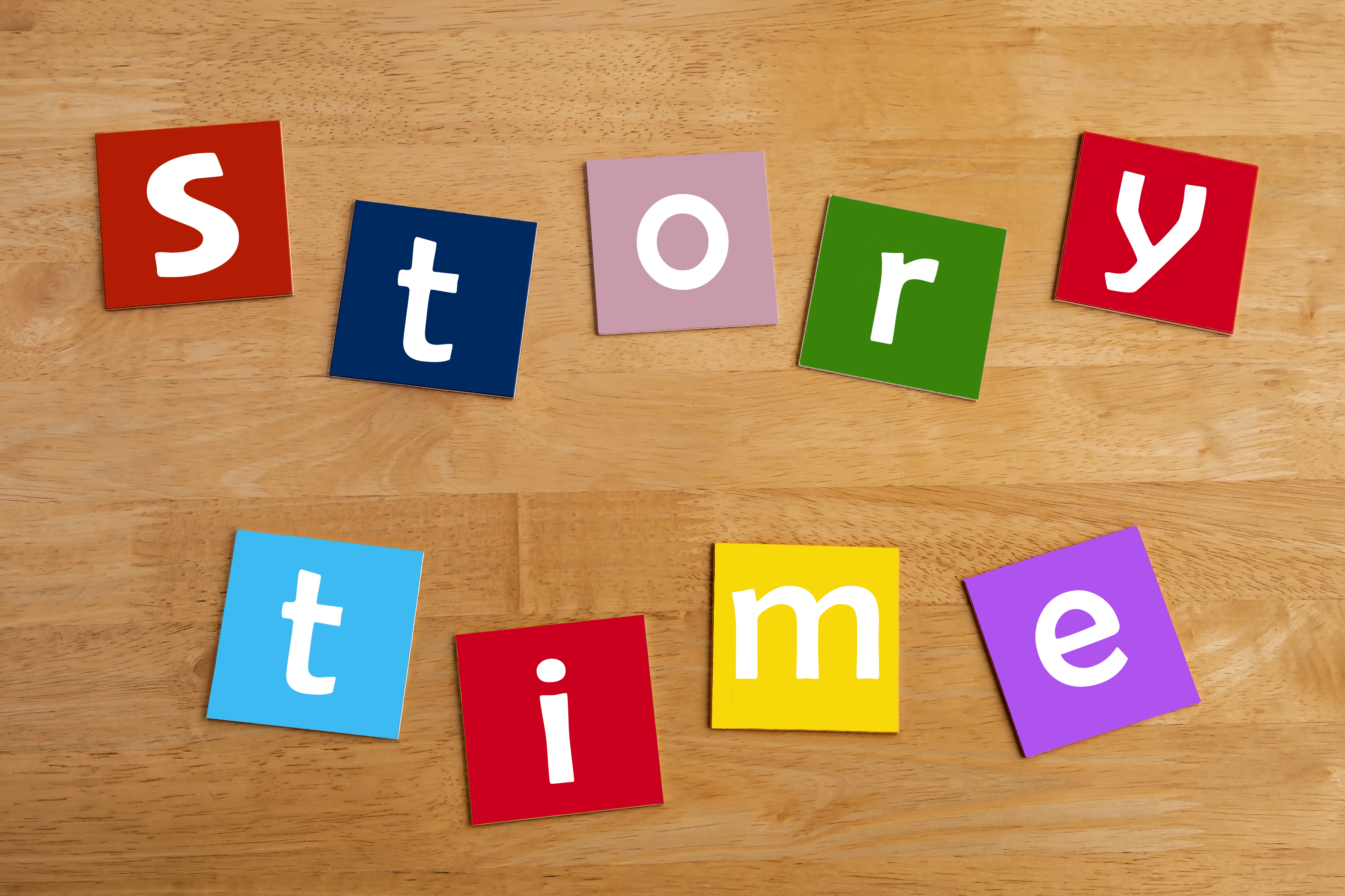 story time - word and alphabet letters sign for stories, story books, reading, school children, libr