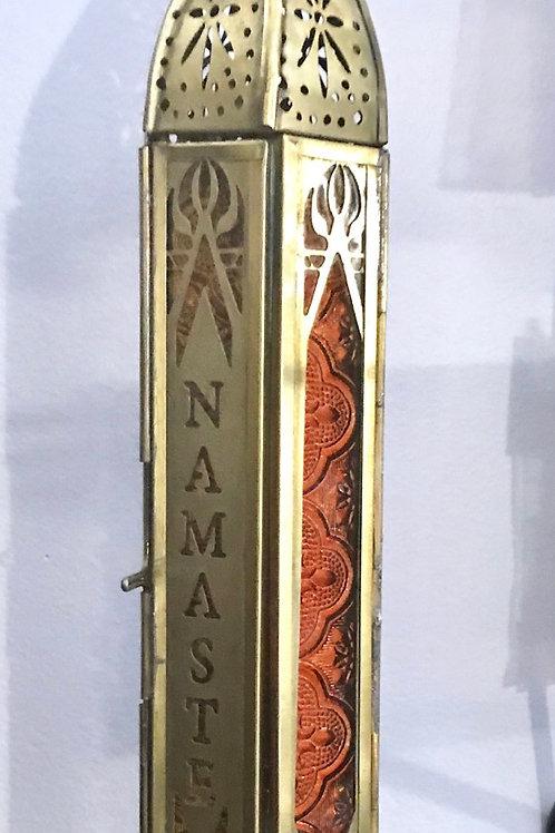 """Namaste Metal and Glass Lantern 12"""""""