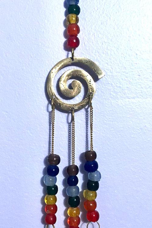 Chakra Beaded Hanging Bells w/Spiral