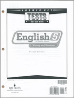 English 5: Writing and Grammar - Tests Answer Key