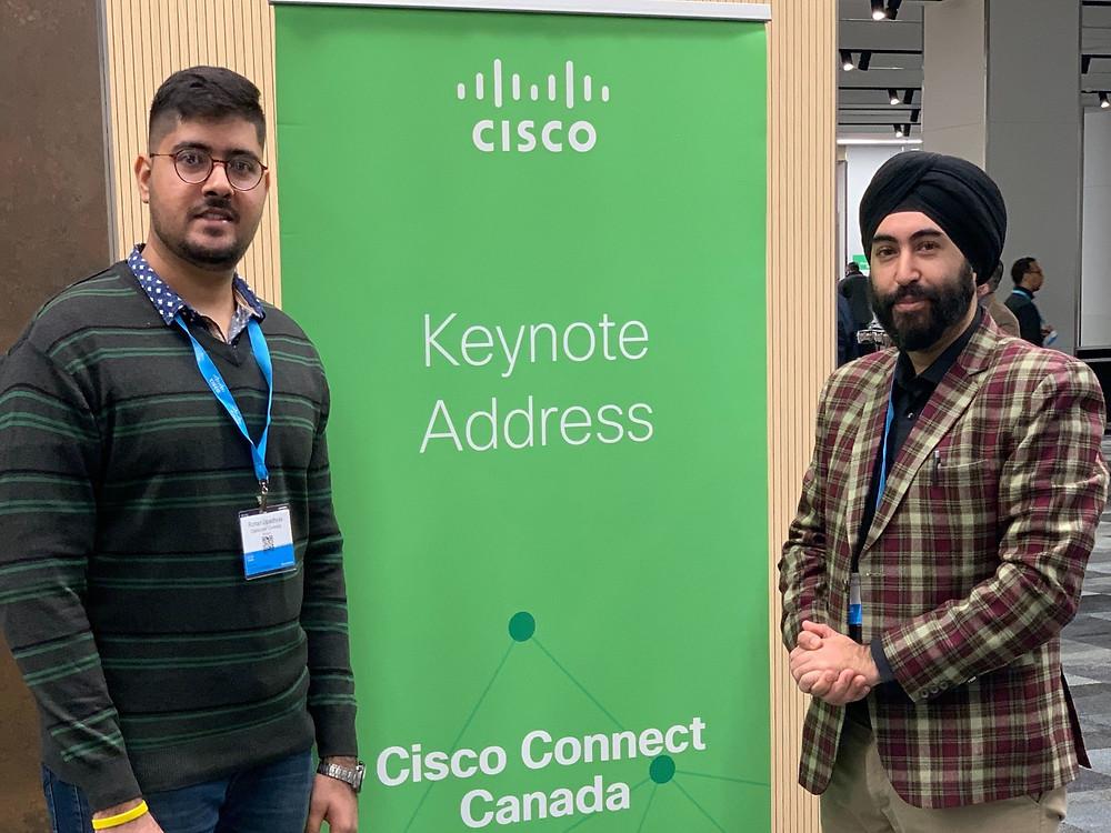 Rohan Upadhay (Dalhousie University, right of photo) and Harpreet Singh Kohli (University of New Brunswick, left of photo) at the Cisco Connect Halifax.