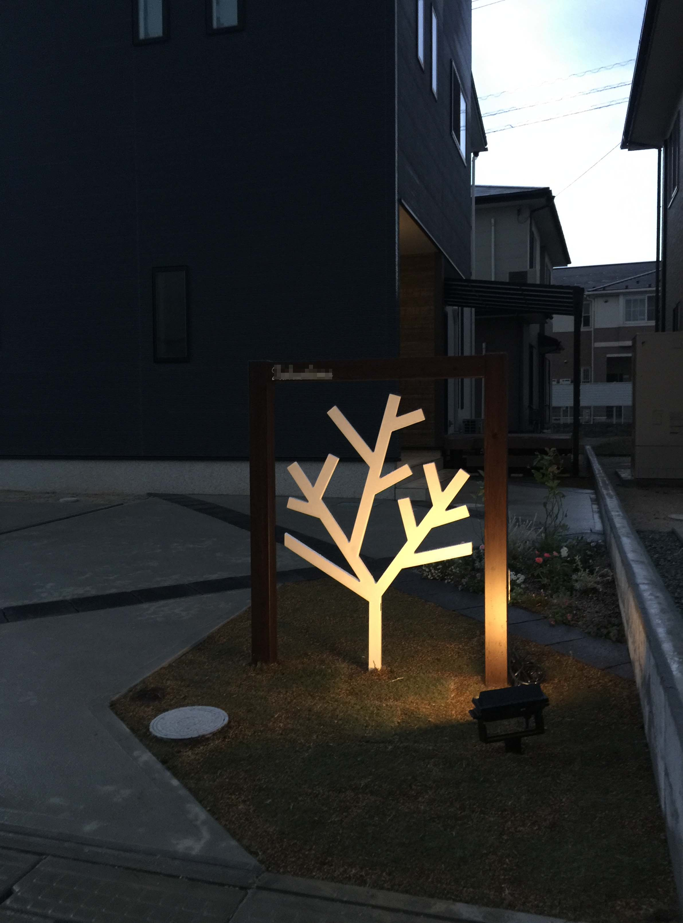 松江市 F邸 門柱 ライトアップ