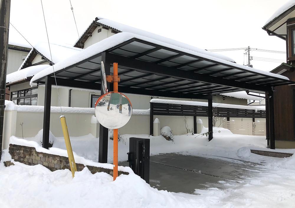 出雲市内 カーポート3台用 積雪状況