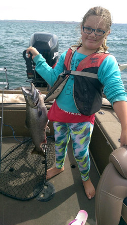 Olivia Albrecht with a 15 pound Fort Peck salmon