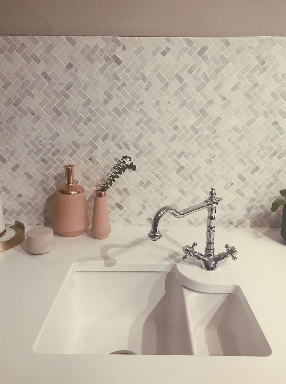 Pink modern kitchen sink