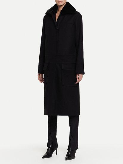 Пальто с графичным поясом