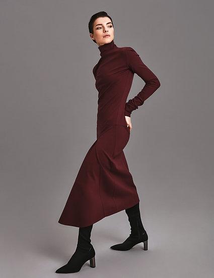 Платье Бургунди миди с воланом