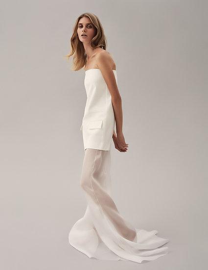 Платье футляр с годе из шелковой органзы