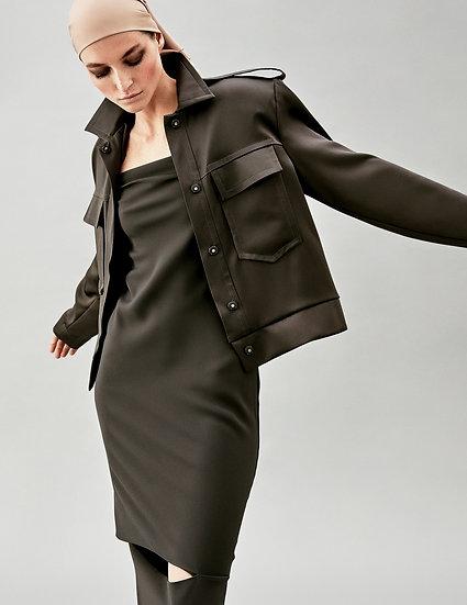 Куртка жакет в стиле милитари с накладными карманами