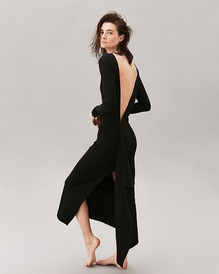 Платье чёрное джерси с воланом