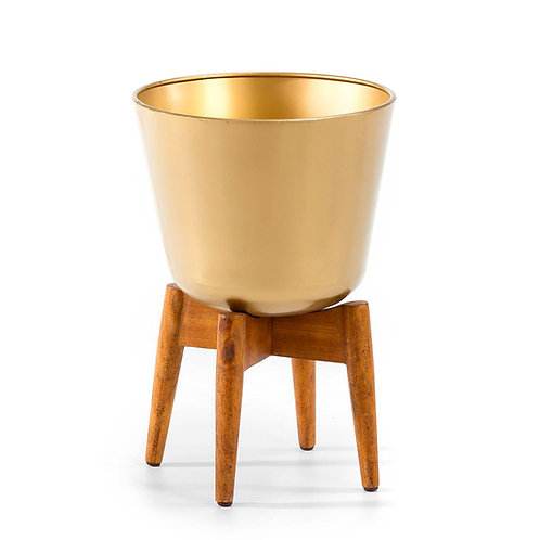 Hudson Planter 32x32x49 - Natural Wood/Golden Metal