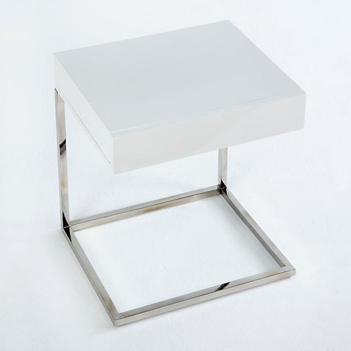 Olivia Nightstand - White MDF/Steel