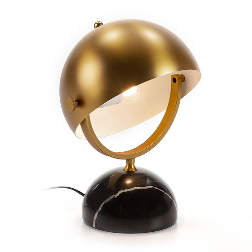 Monica Table Lamp - Golden Metal/Black Marble
