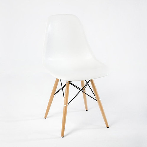 Elisenda Dining Chair - Set of 4 - White Polyurethane/Natural Wood