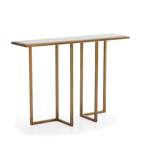 Erin Console - White Marble/Golden Metal