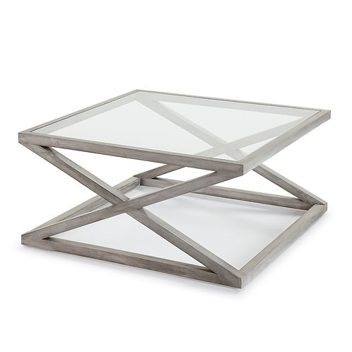 Equis Coffee Table/Sq - Grey Veiled Wood/Glass