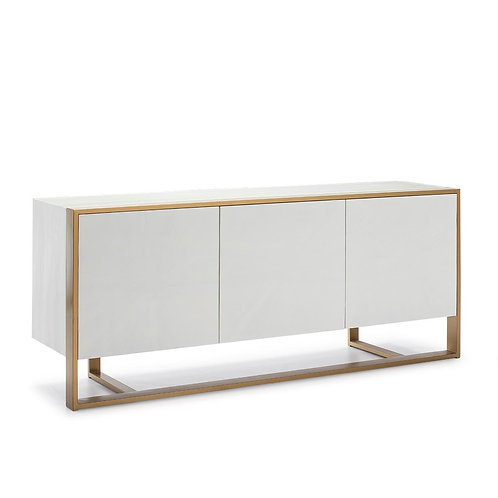 Carrie Sideboard - White Wood/Golden Metal