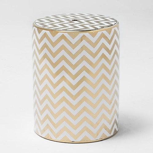 Barbara Side Table/Stool - White/Golden Ceramic