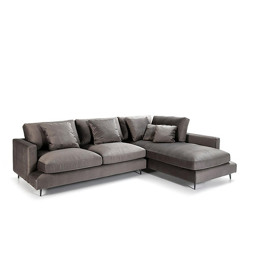 Mateu Sofa w/ Chaise - Grey Fabric