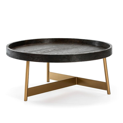 Miranda Coffee Table - Dark Brown Wood/Golden Metal
