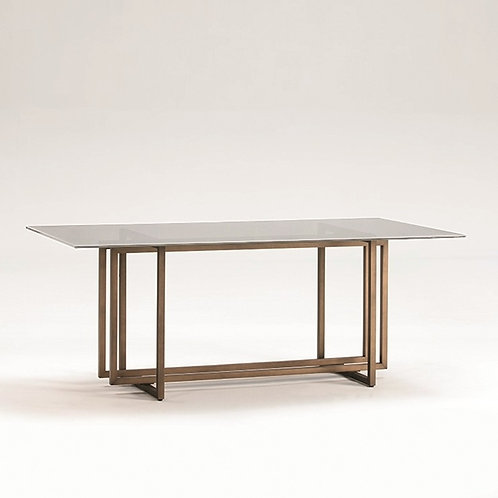 Theresa Dining Table - Glass/Golden Metal
