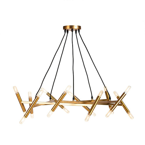 Angela Hanging Lamp - Golden Metal/Glass