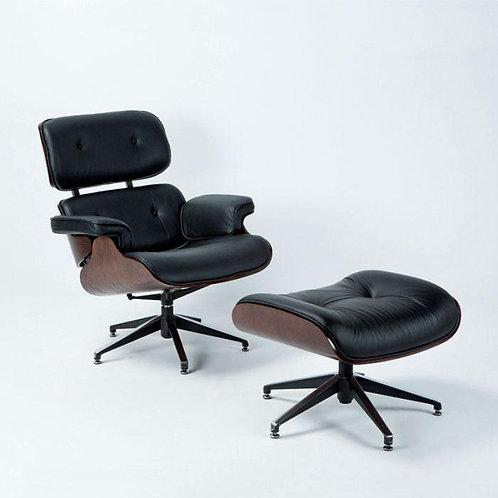 Montclair Armchair & Footrest - Black Leather/Brown Wood
