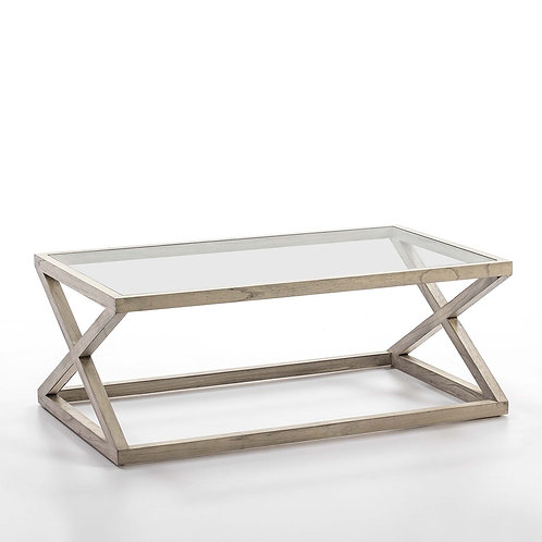 Equis Coffee Table/Rect - Grey Veiled Wood/Glass