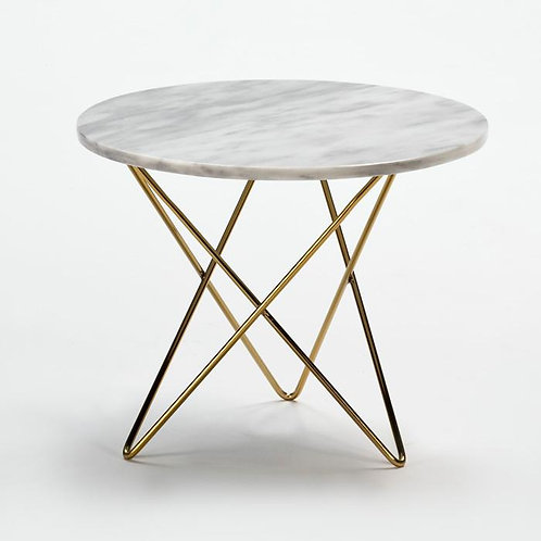 Marlena Side Table - White Marble/Golden Metal