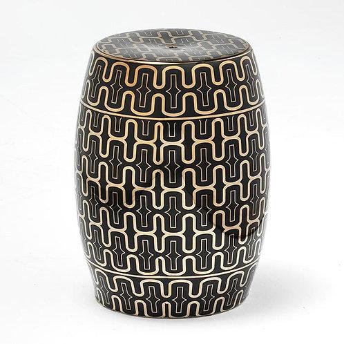 Paulina Side Table/Stool - Black/Golden Ceramic